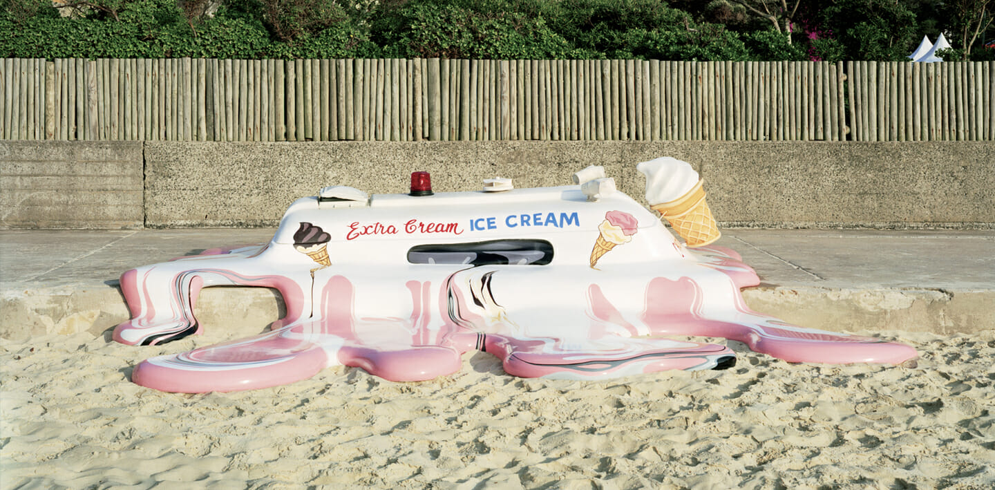 melting ice cream truck sculpture