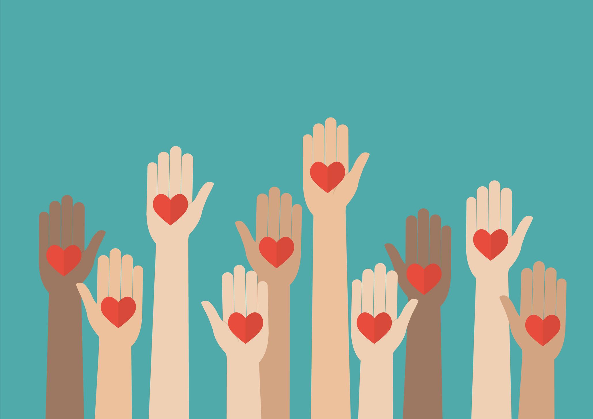 Raised hands volunteering. Vector illustration
