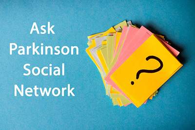 Ask Parkinson Social Network Cards with question mark